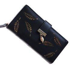 ทบทวน La Vie Hollow Leaves Women Cash Wallet Pu Purse Ladies Texture Holder Black Intl Unbranded Generic