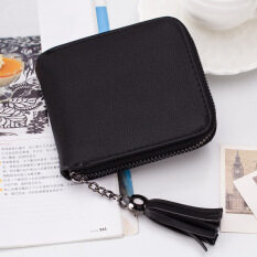 กระเป๋าสตางค์ซิปลาวีประดับเหรียญที่เก็บบัตรประชาชนบัตรกระเป๋า(สีดำ) ใหม่ล่าสุด
