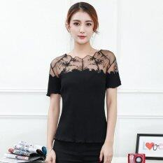 Lace Embroidered T Shirts Loose S*xy Sweet The Lace Stitching Round Neck T Shirt Black Intl เป็นต้นฉบับ