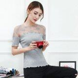 ขาย Lace Embroidered T Shirts Loose S*xy Sweet The Lace Stitching Round Neck T Shirt Grey Intl ถูก ใน Thailand