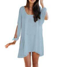 ขาย ซื้อ Ladies Fashion V Neck Split Long Sleeve Mini Dress