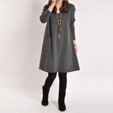 โปรโมชั่น Ladies Long Sleeve Pockets V Neck Loose Casual Cotton Mini Dress จีน