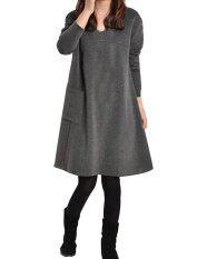 Ladies Long Sleeve Pockets V Neck Loose Casual Cotton Pregnant Mini Dress Gray ใน แองโกลา