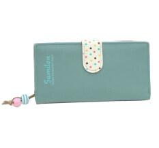 กระเป๋าสตางค์กระเป๋าถือสตรีสาวยาวซิปกระเป๋าคลัตช์ที่เก็บบัตรคุณภาพสูงสีเขียว ระหว่างประเทศ สมุทรปราการ