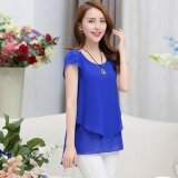 ทบทวน Lalang Casual Chiffon Shirt Short Sleeve Loose O Neck Blouse Dark Blue Intl