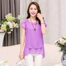 ขาย Lalang Casual Chiffon Shirt Short Sleeve Loose O Neck Blouse Purple Intl เป็นต้นฉบับ
