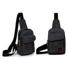 ขาย สบายกระเป๋านักเรียนชายหญ้าคาใบกระเป๋าสะพายกระเป๋าคล้องไหล่ท่องเที่ยวกลางแจ้งกระเป๋าหน้าอก สีดำ Lalang