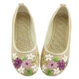ซื้อ หญ้าคาลื่นผู้หญิงรองเท้าผ้าใบดอกไม้รองเท้าสบายๆรอบนิ้วเท้ารองเท้า สีเบจ นานาชาติ Lalang ออนไลน์