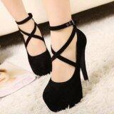 ส่วนลด สินค้า Lalang Thick High Heels S*Xy Strap Sandals S*Xy Night Club Women Fish Mouth Sandals Shoes Black Intl
