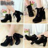 ขาย Lalang Women Boots Thick With High Heeled Bandage Martin Shoes Black Intl ออนไลน์ ใน จีน