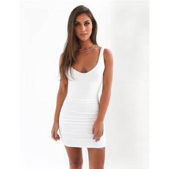 LALANG ผู้หญิงสั้นชุดราตรีแขนกุดชุดที่เป็นของแข็งสะโพก Sundress (สีขาว) - นานาชาติ