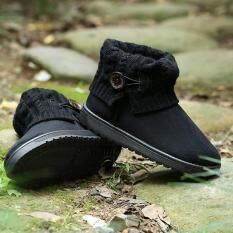 ขาย หญ้าคาเท้าบู๊ตสั้นสตรีหิมะฤดูร้อนเรือรองเท้าแพลตฟอร์มสีดำ Lalang ออนไลน์