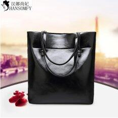 Lan Store Premium Quality Female Tote Bag Series 2017 New High Quality Leather Women Shoulder Bag Fashion Brand Designer Bucket Bag Large Capacity Top Handle Bags Tote Bag Black Intl จีน