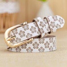 ส่วนลด สินค้า Lan Store Premium Quality Genuine Leather Belt For Women Fashion Femal Cowhide Waist Belt White Intl