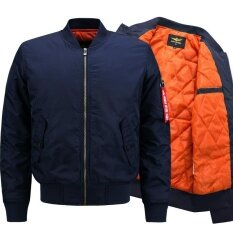 ส่วนลด Lanbaosi Men Fashion Sports Bomer Jacket Stand Collar Air Force Flight Jacket Dark Blue Intl จีน
