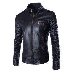 ซื้อ Lanbaosi ชายปกเสื้อแจ็กเก็ตหนัง Pu บูธลำลองสีดำ ใหม่ล่าสุด