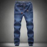 ซื้อ Large Size Jeans New Winter Men S Feet Elastic Waist Micro Bomb Casual Jeans Scratches Slim Denim Trousers Tide จีน