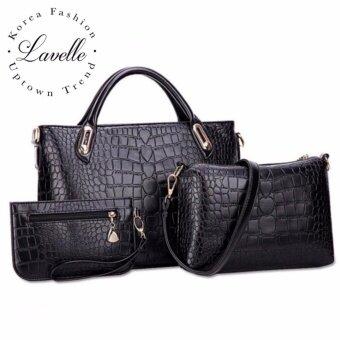 LaVelle 301 3ใบใน1เดียว คุณภาพระดับพรีเมียม แฟชั่น กระเป๋าถือ3 in 1 (สีดำ)