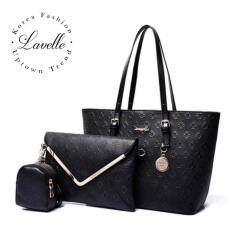 ราคา ราคาถูกที่สุด Lavelle 309 3ใบใน1 เดียว คุณภาพระดับพรีเมียม แฟชั่น กระเป๋าถือ 3 In 1 สีดํา