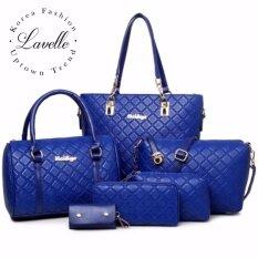 ขาย Lavelle 604 6ใบใน1 เดียว คุณภาพระดับพรีเมียม แฟชั่น กระเป๋าถือ 6 In 1 สีน้ำเงิน Lavelle