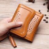 ซื้อ Leather Best Style กระเป๋าสตางค์หนังแท้หนังเรียบฉลุลายดอก ใบสั้น3พับ รุ่น B005 7A สีน้ำตาลฉลุลายดอก