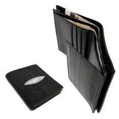 โปรโมชั่น Leather Best Style กระเป๋าสตางค์หนังปลากระเบนแท้3พับ มีช่องใส่เงินที่กว้างเป็นพิเศษ ใช้ได้ทั้งผู้ชายและผู้หญิง รุ่น Bkb001 2 สีดำ Leather Best Style