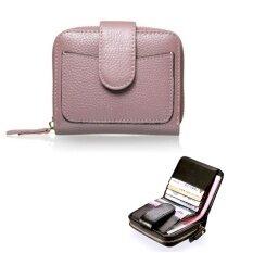 ซื้อ Leather Best Style กระเป๋าสตางค์ ผู้หญิง ใบสั้นมีช่องใส่เหรียญ หนังแท้อย่างดี รุ่น A303 1B สีม่วง Leather Best Style เป็นต้นฉบับ