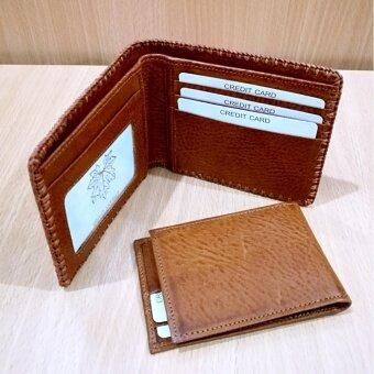 Leather Best Style กระเป๋าสตางค์หนังแท้หนังบารองถักริม ใบสั้นสองพับแบบแม่-ลูกที่มีซองใส่บัตรที่แยกออกมาได้ รุ่นB020-2-4(สีน้ำตาลพร้อมกล่อง)