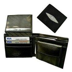 ขาย ซื้อ Leather Best Style กระเป๋าสตางค์ ผู้ชาย หนังปลากระเบนแท้ มีช่องเล็กฝาปิดใส่เหรียญ รุ่น Bkb001 1A สีดำ ใน ไทย