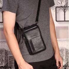 ขาย Leather Best Style กระเป๋าสะพายและคาดเข็มขัดได้ Size S หนังแท้ รุ่น C002 9 11B สีดำ Leather Best Style ถูก