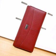 ขาย Leather Inc กระเป๋าสตางค์หนังแท้ใบยาวมีช่องใส่เหรียญ รุ่น B005 17 3 สีแดง Leather Inc เป็นต้นฉบับ