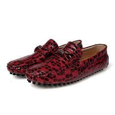 ซื้อ Leather Leopard Printed Men Loafers High Quality Driving Shiny Soft Formal Driving Loafers Intl ออนไลน์ จีน