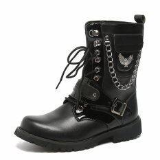 ขาย Leather Military Uniform Men Boots Gothic Skull Punk Martin Platform Mid Calf Boots Steampunk Shoes Intl ถูก ใน จีน
