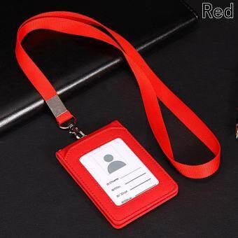 กระเป๋าสตางค์หนังกระเป๋าถือบัตรเครดิตพร้อมสายคล้องเชือกและ 3 ช่องสำหรับใส่บัตรประชาชนสีแดง - นานาชาติ