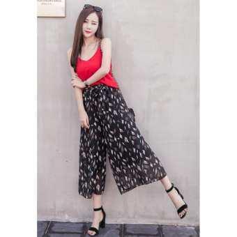 กางเกงขาบาน ผ้าชีฟอง ลายleaves ไซต์ S-XL # 6888