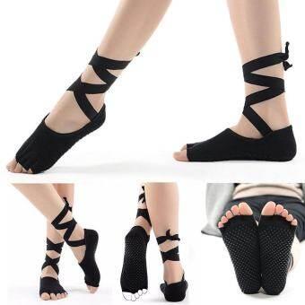 แนะนำ leegoal 1 Pair Ladies Girls Non-slip Open Five Toe Socks Bandage Ballet Dance