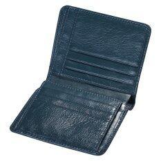 ทบทวน Leegoal Foonee Men S Genuine Leather Wallet First Layer Bifold Oil Wax Wallet Dermis Leather Wallet Blue Intl