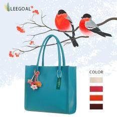 โปรโมชั่น Leegoal Large Capacity Candy Color Pu Leather Ladies Handbag Tote Bag Sky Blue ถูก
