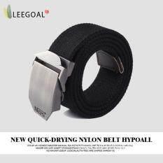 ส่วนลด Leegoal เข็มขัดบุรุษ Men Extra Long Canvas Web Belt Automatic Buckle Military Style Black จีน