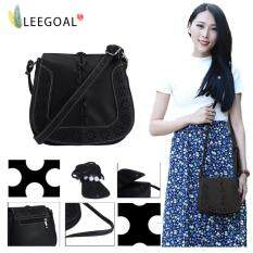 Leegoal Vintage Pu Leather Carved Pattern Shoulder Crossbody Bag For Womens Girls Black Intl จีน