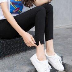 ราคา นางสาวฤดูใบไม้ผลิและฤดูใบไม้ร่วงกางเกงเอวสูงสวมใส่ด้านนอก Bottoming กางเกง สีดำ สีดำ ราคาถูกที่สุด