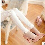 ขาย กางเกงแลกกิ้งปลายแยก สีดำสไตล์เกาหลี ขายดี สีขาว ใหม่