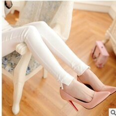 กางเกงแลกกิ้งปลายแยก สีดำสไตล์เกาหลี ขายดี สีขาว ใหม่ล่าสุด