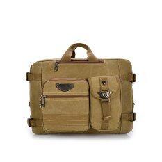ขาย Leisure Canvas Backpack Computer Bag Multifunction Shoulder Messenger Bag Khaki Intl Unbranded Generic ออนไลน์