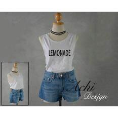 ราคา Lemonade Sideboob Women Shirt Tank Top เสื้อกล้าม แขนกุด แหวกรักแร้ ลาย Lemonade สุดเก๋ ชิคๆ สวมใส่สวย ในลุค สาวเซอร์ๆ ออนไลน์