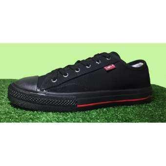 LEO 199 รองเท้าผ้าใบ สีดำแดง
