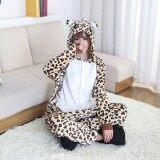โปรโมชั่น Leopard Bear Pajamas Unisex Adults Animal Onesies Flannel Hoodie Cosplay Costume Onesies Pyjamas Sleepwear Home Clothes Intl ถูก