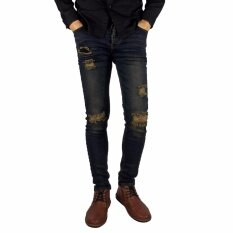 Blackstreet กางเกงยีนส์ชายขาเดฟ (ผ้ายีนส์ยืด) สียีนมิดไนท์ฟอกขาดเข่า Deenow Forlife Jeans Skinny Fit Type-Ch154-5.