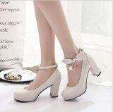 ราคา แฟชั่นผู้หญิง Leyi พร้อมส้นรองเท้าส้นสูง สีขาว ใหม่