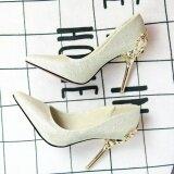 ซื้อ Leyi Ladies Fashion Of Carve Patterns Or Designs On Woodwork Suede High Heels Gold Intl จีน